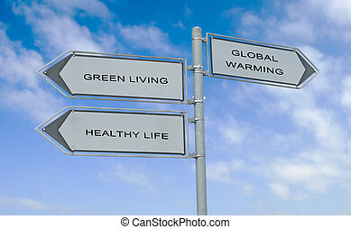 Road sign to healthy life and green living