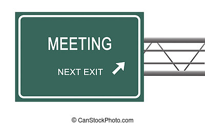 Road sign to meeting