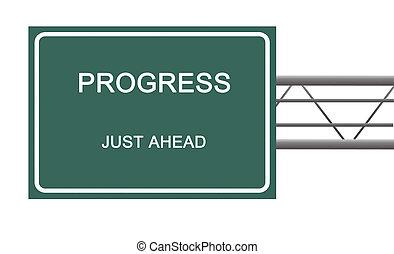 Road sign to progress