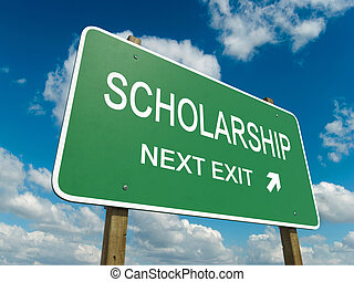 scholarship - Road sign to scholarship with blue sky