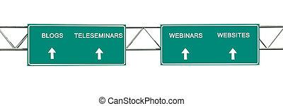 Road sign to blogs,teleseminars,webinars, and websites