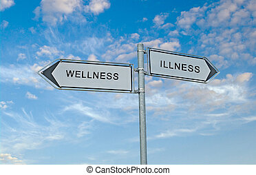 Road sign to wellness and illnesss