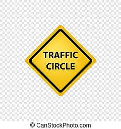 Road sign traffic circle icon