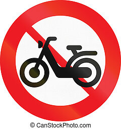 Road sign used in Denmark - No mopeds