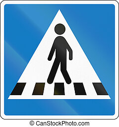 Road sign used in Denmark - Pedestrian crossing