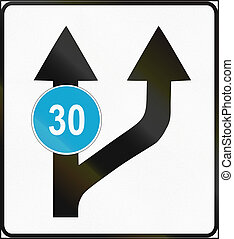 Road sign used in Estonia - Change in available lanes with minimum speed