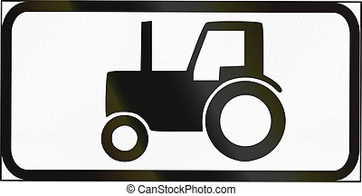 Road sign used in Estonia - Symbol plate for agricultural vehicles