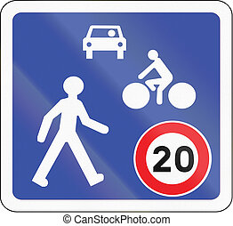 Road sign used in France - Home zone entry