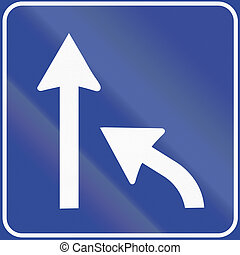 Road sign used in Italy - available lanes change
