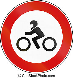 Road sign used in Italy - motorcycles and motor scooters not allowed