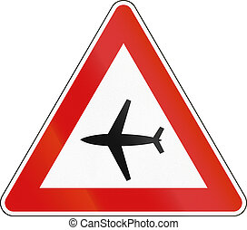 Road sign used in Malta - Low flying aircrafts
