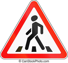 Road sign used in Russia - Pedestrian crossing