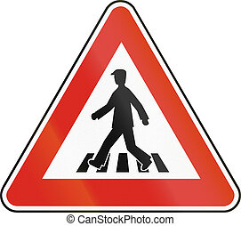Road sign used in Slovakia - Pedestrian crossing