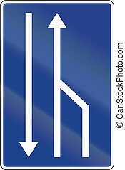 Road sign used in Spain - Change in available lanes