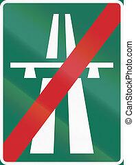 Road sign used in Sweden - End of motorway