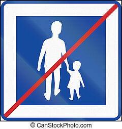 Road sign used in Sweden - End of pedestrian area