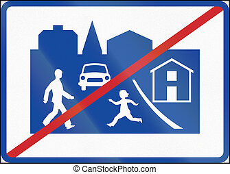 Road sign used in Sweden - End of residential area
