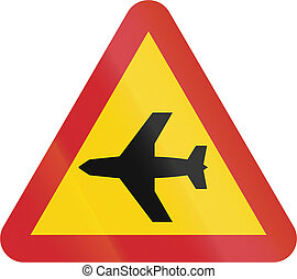 Road sign used in Sweden - Low-flying aircraft