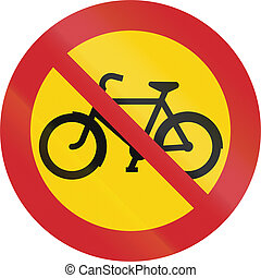 Road sign used in Sweden - No cycles or mopeds