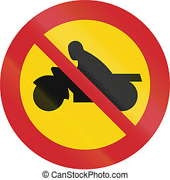 Road sign used in Sweden - No motorcycles or mopeds