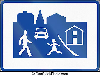 Road sign used in Sweden - Residential area