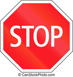 Road sign used in Switzerland - Stop and give way