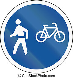 Road sign used in the African country of Botswana - Cyclists and pedestrians only