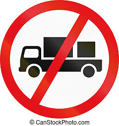 Road sign used in the African country of Botswana - Delivery vehicles prohibited