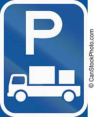 Road sign used in the African country of Botswana - Parking for delivery vehicles