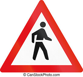 Road sign used in the African country of Botswana - Pedestrians