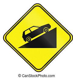 Road sign used in Uruguay - Steep Uphill Grade