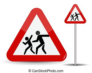 Road sign Warning: Children. In the Red Triangle running kids. Vector Illustration.