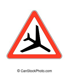 Road Sign Warning Flying Aircraft on White Background