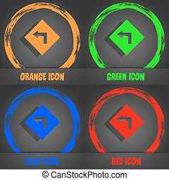 Road sign warning of dangerous left curve icon sign. Fashionable modern style. In the orange, green, blue, red design. Vector