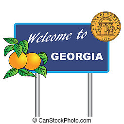 Road sign Welcome to Georgia