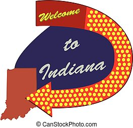 Road sign Welcome to Indiana