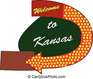 Road sign Welcome to Kansas