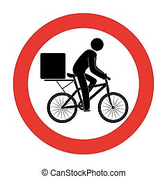 road sign with delivery man in bike