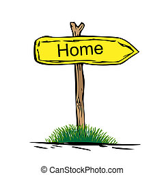 Road sign with green grass isolated on a white background. Home