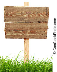 road sign with green grass isolated on a white background