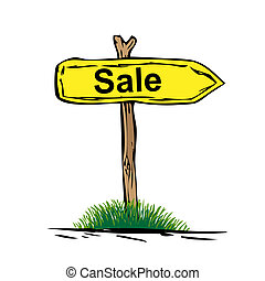Road sign with green grass isolated on a white background. SALE