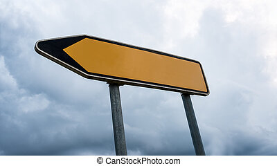 Road sign with left pointing arrow