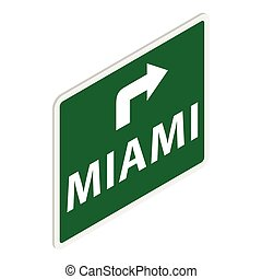 Road sign with Miami icon, isometric 3d style