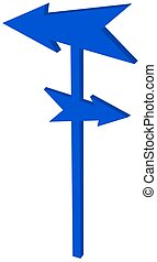 road sign with pointed blue arrowhead - 3D Illustration