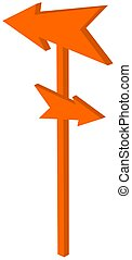 road sign with pointed orange arrowhead - 3D Illustration