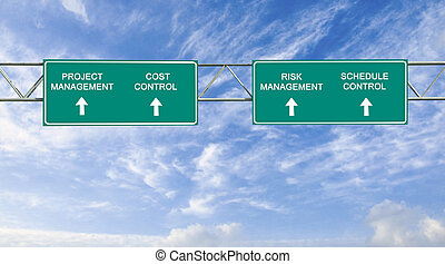 road sign with  project management words