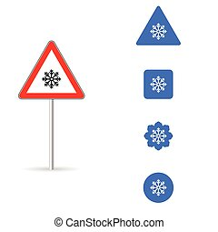 road sign with snowflake illustration