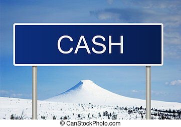 Road sign with text Cash - A blue road sign with white text...