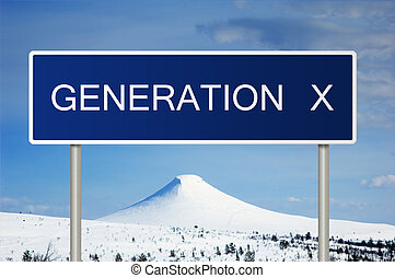 Road sign with text Generation X - A blue road sign with ...