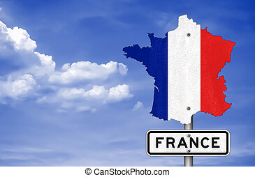 Road sign with the map of France